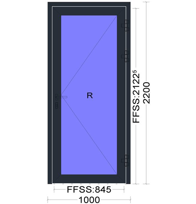 aliuminių durų eskizas
